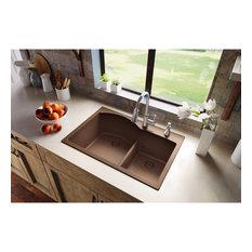 """ELGH3322RMC0 Quartz Classic 33"""" x 22"""" Drop-in Sink with Aqua Divide, Mocha"""