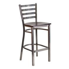 flash furniture hercules clear coated ladder back metal barstool wood seat clear