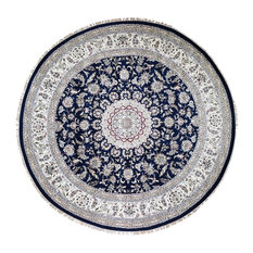 Wool And Silk 250 KPSI Navy Nain Hand-Knotted Oriental Round Rug, 12'x12'