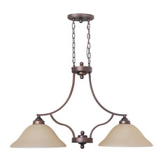Craftmade Portia Metropolitan Bronze Chandelier/Island With Amber Frosted Glass