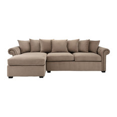 Traditional Modern L-Shape Sectional Sofa, Velvet Fabric, Brown