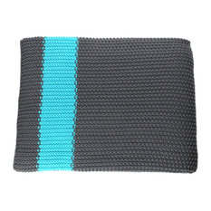 Cotton Throw Blanket, Marici Collection, Dark Gray and Turquoise