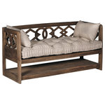 GABBY - Gabby Modena Linen Tufted Wooden Bench - Modena Bench by Gabby. A great piece for an entryway or alongside a dining table, the Modena Bench is a deco style design featuring geometric shaped natural wood and a tufted French linen cushion. The shelf is perfect for storage.