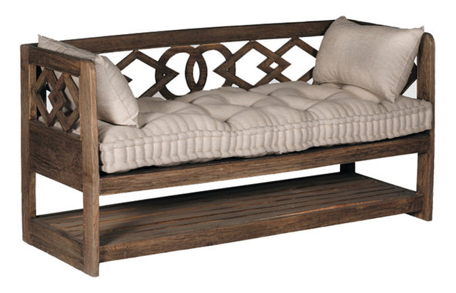 Gabby Modena Linen Tufted Wooden Bench Traditional
