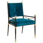 Jonathan Adler - Rider Arm Chair - Perfect for the head of the table or flanking a console for a stately presence. Made from a chic blackened metal frame with swanky details sizable acrylic finials, brass detailing, tooled floral escutcheons, and rich Peacock velvet upholstery. At home in your French chateau or your Park Avenue penthouse.