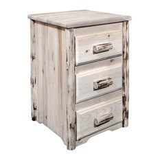 Montana Log Collection Wood Nightstand With 3 Drawers In Ready To Finish MWN3D
