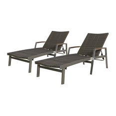 GDF Studio Joy Outdoor Wicker and Aluminum Chaise Lounges, Set of 2