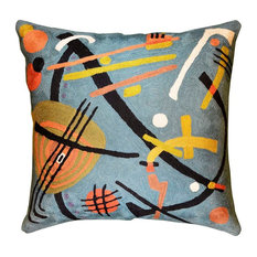 """Kandinsky Teal Decorative Pillow Cover Hand Embroidered Wool 18x18"""""""