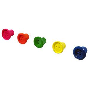 Button-Up Mini Coat Hooks, Multi Coloured, Set of 5