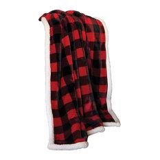 Lumberjack Red Plaid Extra Plush Sherpa Throw Blanket
