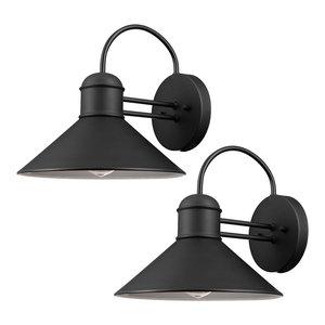 Sebastien 1-Light Black Outdoor Wall Sconce, 2-Pack