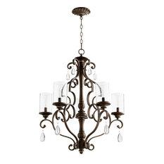 "Chandelier 5-Light With Vintage Copper Candelabra Base Bulbs 28"" 300W"
