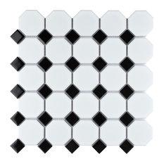 "SomerTile Metro Octagon 11-1/2""x11-1/2"" Porcelain Mosaic Floor/Wall Tile, Matte"