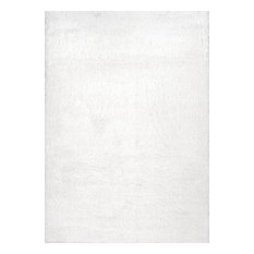 """Soft and Plush Cloudy Solid Shag Rug, Snow White, 3'3""""x5'"""