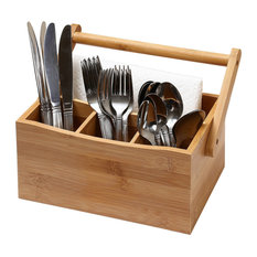 YBM Home & Kitchen Bamboo 4 Compartment Utensil Flatware Cutlery Caddy Holder