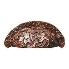 Florid Leaves Bin Pull Antique Copper