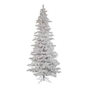 Flocked White Slim Tree, 7.5', Warm White LED Lights