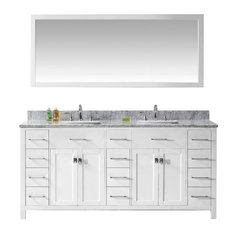 "Caroline Parkway 72"" Double Bathroom Vanity Set White, Marble Top"