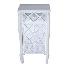 32.7' Antique White Wood Accent Cabinet With Mirrored Drawer And Door
