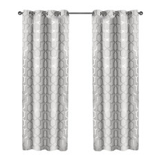 Amagamated Textiles Panza Grommet Top Curtains Silver Winter White Set Of 2