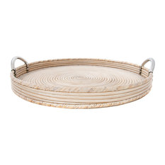 """Artifacts Rattan™ Round Tray with Stainless Steel Handles, White Wash, 19""""x19""""x2"""
