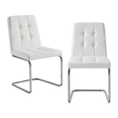 Alessia Armless Chrome Frame Dining Chair, Set of 2, White Pu Leather