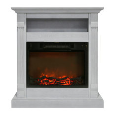"""Sienna 34"""" Electric Fireplace With 1500W Log Insert and Mantel, White"""