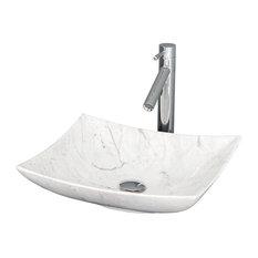 Arista Vanity Bathroom Sink, White Carrera Marble