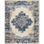 """Nourison - Nourison Grafix Area Rug, White, 7'10""""x9'10"""" - In intriguingly distressed shades of navy blue and white, this Grafix area rug from Nourison will elevate the elegance quotient of any room. Each rug is brilliantly bordered in traditional Persian rug style, and masterfully powerloomed for a lavish feel, long wear, and low maintenance."""