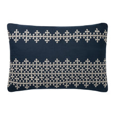"Loloi P0833 Decorative Throw Pillow 16""x26"" Cover With Down Navy/Ivory"