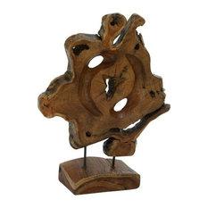 """Teak Metal Sculpture, 16""""x19"""""""