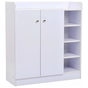 Modern Shoe Storage Cabinet, White Finished MDF With 2-Door and Shelves