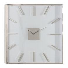 """Extra Large Square Silver Metal Wall Clock with Clear Glass Face, 30"""""""