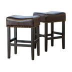 Chantal Leather Stools, Set of 2, Brown, Counter Height