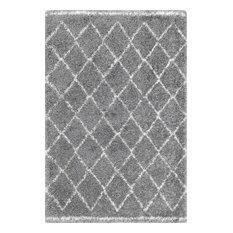 Moroccan Trellis Shag Natural Rug, Gray, 5'x8'