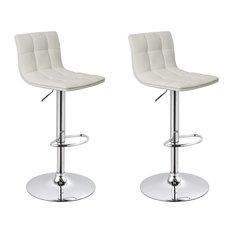 Mod Clarke Faux Leather Adjule Bar Stools Set Of 2 White