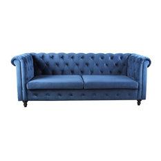 Morven Velvet Chesterfield-Style Tufted Sofa Blue