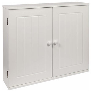 Traditional Storage Cabinet, MDF, Double Door and Inner Shelf, White Finish