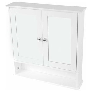 Wall Mounted Storage Cabinet in White MDF with Mirrored Double Doors, Open Shelf