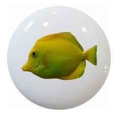 Yellow Tang Tropical Fish Ceramic Cabinet Drawer Knob