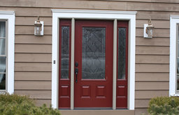 Red Door Entry with White Trim