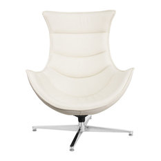 Offex White Leather Swivel Cocoon Chair