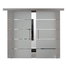 "Modern European Double Sliding Glass Barn Doors, 72""x84"""