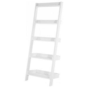 Mobile White Ladder Shelf, Wide