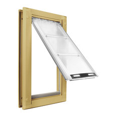 "Endura Flap Pet Door, Door Mount, Medium Single Flap, Tan Frame, 8""x15"""