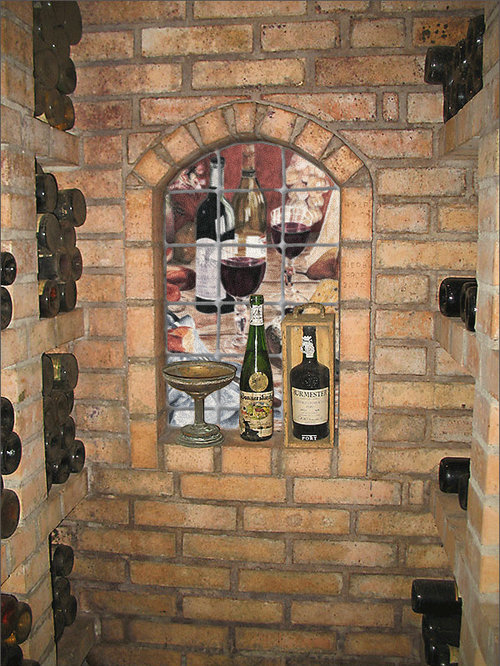Marble wall mural in wine cellar niche for Wine cellar wall mural