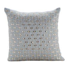 "Blue Crystals Leaf 24""x24"" Silk Pillow Shams, Crystal Buttercups"