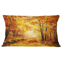 """Yellow Autumn Forest Landscape Printed Throw Pillow, 12""""x20"""""""