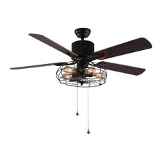 Bella Depot 5 Light Black Vintage Ceiling Fan With Remote Reversible Blades