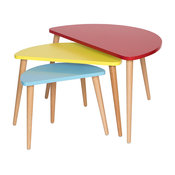 Midcentury Modern Tri-Color Nesting Tables, 3-Piece Set, Red/Yellow/Blue